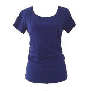 Blue short sleeve knit top
